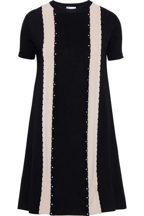 REDValentino Studded two-tone stretch-knit mini dress