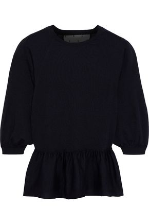 REDValentino Point d'esprit-trimmed cashmere and silk-blend peplum sweater