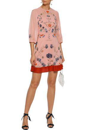 RED(V) Crepe de chine-trimmed floral-print silk-blend chiffon mini dress