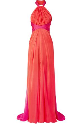 BRANDON MAXWELL Gathered two-tone silk-chiffon halterneck gown