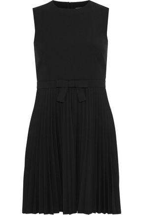 REDValentino Bow-embellished pleated cady mini dress