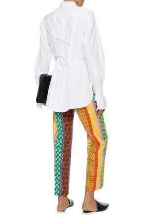 ALEXACHUNG Bow-detailed cotton-poplin shirt