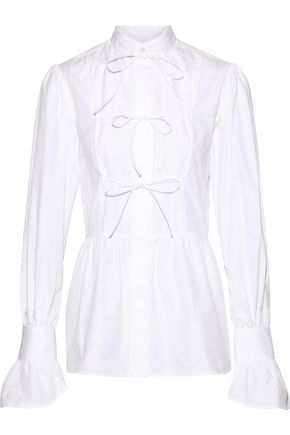 ALEXACHUNG Bow-detailed cotton-poplin shirt