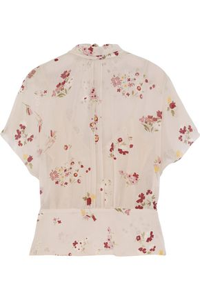 RED(V) Tie-back floral-print silk-blend chiffon blouse