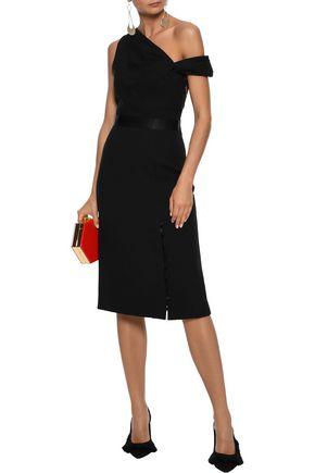 PRABAL GURUNG Cold-shoulder satin-trimmed button-detailed cady dress