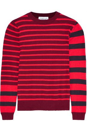 DEREK LAM 10 CROSBY Striped cotton and cashmere-blend sweater