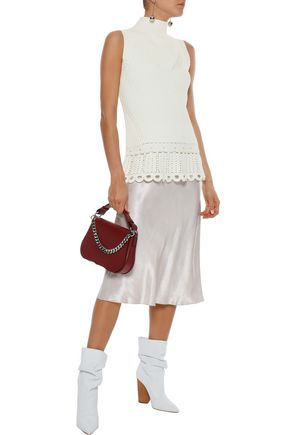DEREK LAM 10 CROSBY Crochet-trimmed ribbed cotton top