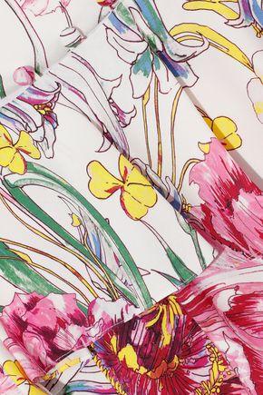 PRABAL GURUNG Lawrence ruffled floral-print silk crepe de chine midi dress