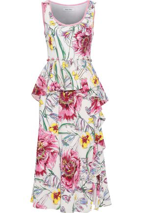 PRABAL GURUNG Lawrence ruffled floral-print silk crepe de chine midi dress