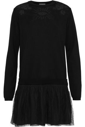 REDValentino Embroidered tulle-trimmed wool and point d'esprit mini dress