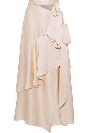 ALEXACHUNG Ruffled hammered silk-satin maxi wrap skirt