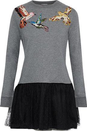 REDValentino Appliquéd cotton-blend jersey and point d'esprit mini dress