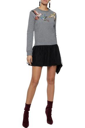 RED(V) Appliquéd cotton-blend jersey and point d'esprit mini dress