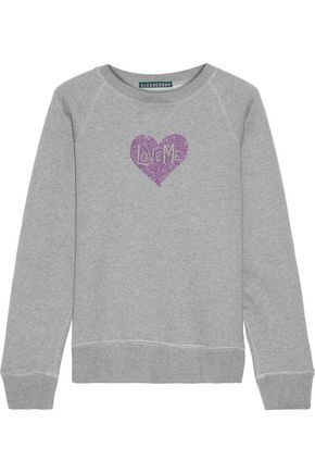 ALEXACHUNG Glitter-appliquéd cotton-fleece sweatshirt