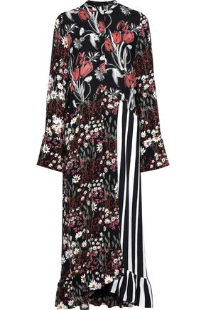 MOTHER OF PEARL Wrap-effect ruffled printed twill midi dress
