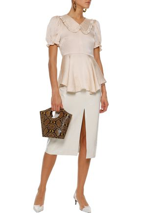 ALEXACHUNG Ruffle-trimmed hammered silk-satin peplum top