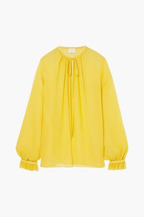 GIAMBATTISTA VALLI Gathered silk-georgette blouse