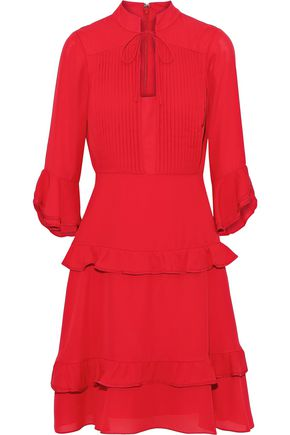 MIKAEL AGHAL Ruffle-trimmed pintucked crepe dress