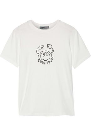 ALEXACHUNG Flocked cotton-jersey T-shirt