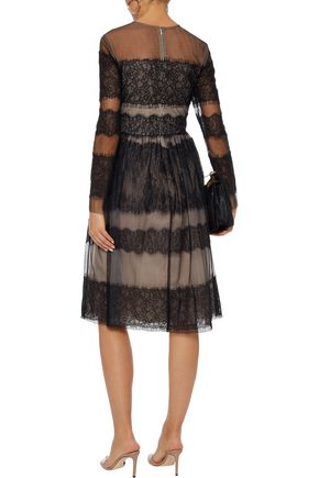 MIKAEL AGHAL Lace-paneled tulle dress