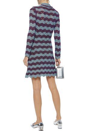 ALEXACHUNG Scalloped striped metallic pointelle-knit mini dress