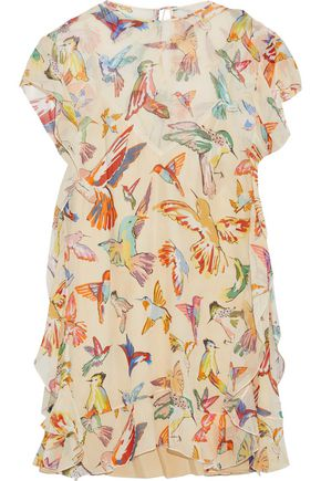 REDValentino Layered printed silk-georgette mini dress
