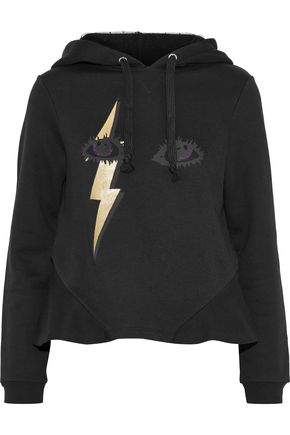 REDValentino Metallic printed French cotton-blend terry hoodie