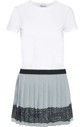 REDValentino Lace-trimmed pleated chiffon and cotton-jersey mini dress