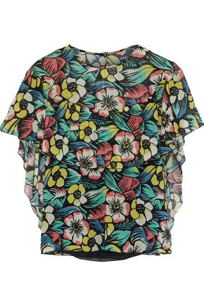 REDValentino Floral-print silk-blend chiffon top
