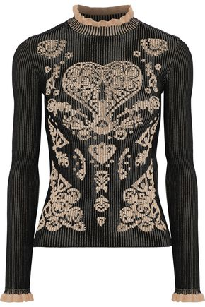 REDValentino Ruffle-trimmed ribbed jacquard-knit sweater