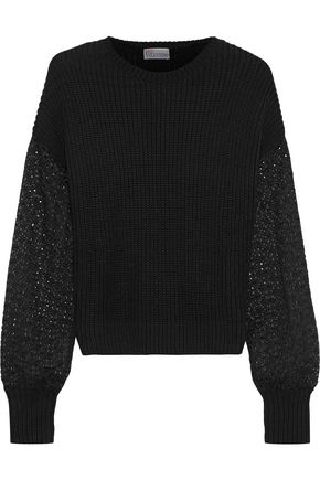 REDValentino Broderie anglaise-paneled ribbed cotton sweater