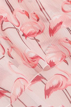 REDValentino Cape-effect printed silk-georgette mini dress