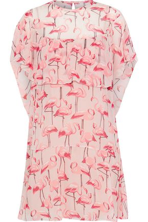 REDValentino Cape-effect printed silk-georgette mini dress
