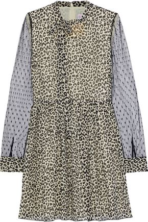 REDValentino Point d'esprit-paneled leopard-print silk-blend chiffon mini dress