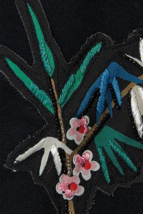 REDValentino Appliquéd French cotton-blend terry and point d'esprit mini dress