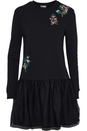 REDValentino Appliquéd French cotton-blend terry and point d'esprit mini dress