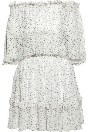 PRABAL GURUNG Off-the-shoulder ruffle-trimmed polka-dot silk-georgette dress