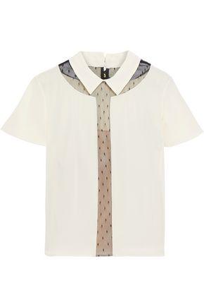 REDValentino Point d'esprit-paneled crepe de chine shirt