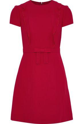REDValentino Bow-embellished ruffle-trimmed crepe mini dress