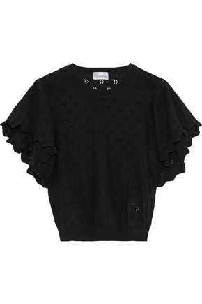 REDValentino Pointelle-knit cotton top