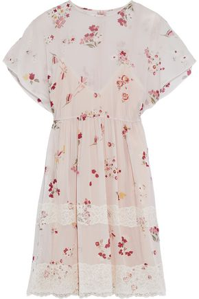 REDValentino Lace-trimmed floral-print silk-blend chiffon mini dress