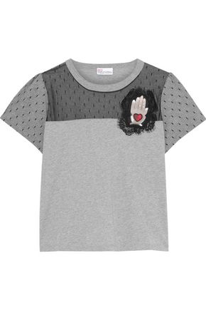 REDValentino Point d'esprit-paneled appliquéd cotton-jersey T-shirt