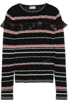REDValentino Ruffled silk-trimmed striped  cotton sweater