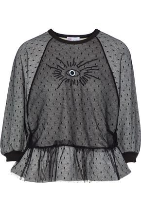 REDValentino Layered embroidered point d'esprit and French cotton-blend terry sweatshirt