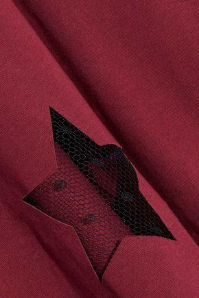 RED(V) Point d'esprit-paneled cotton-jersey T-shirt
