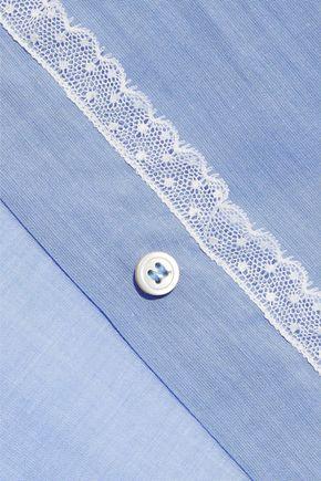 REDValentino Lace-trimmed cotton-poplin shirt