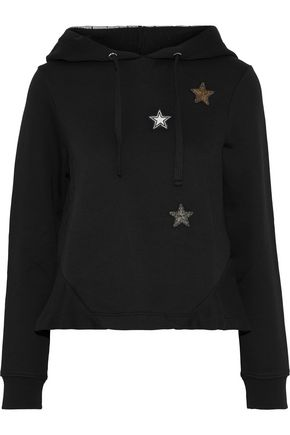 REDValentino Appliquéd French cotton-blend terry hoodie