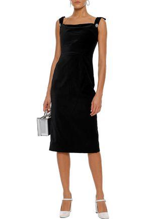 ALEXACHUNG Embellished cotton-velvet dress