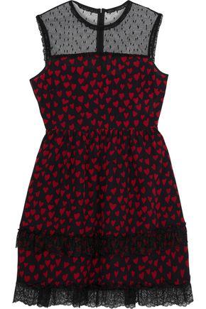 REDValentino Point d'esprit-paneled tiered printed silk mini dress