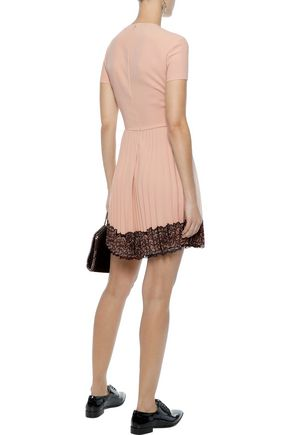 REDValentino Lace-trimmed pleated crepe mini dress